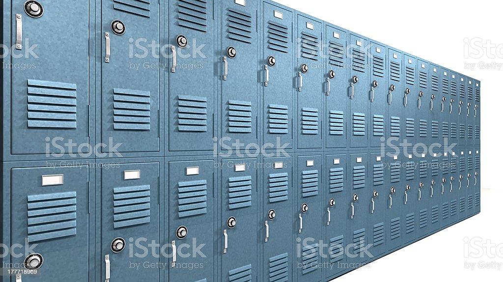 Blue School Lockers Perspective royalty-free stock photo