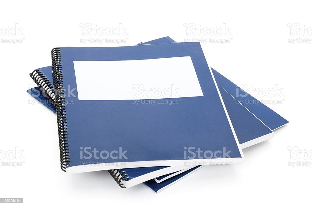 Blue school textbook stock photo