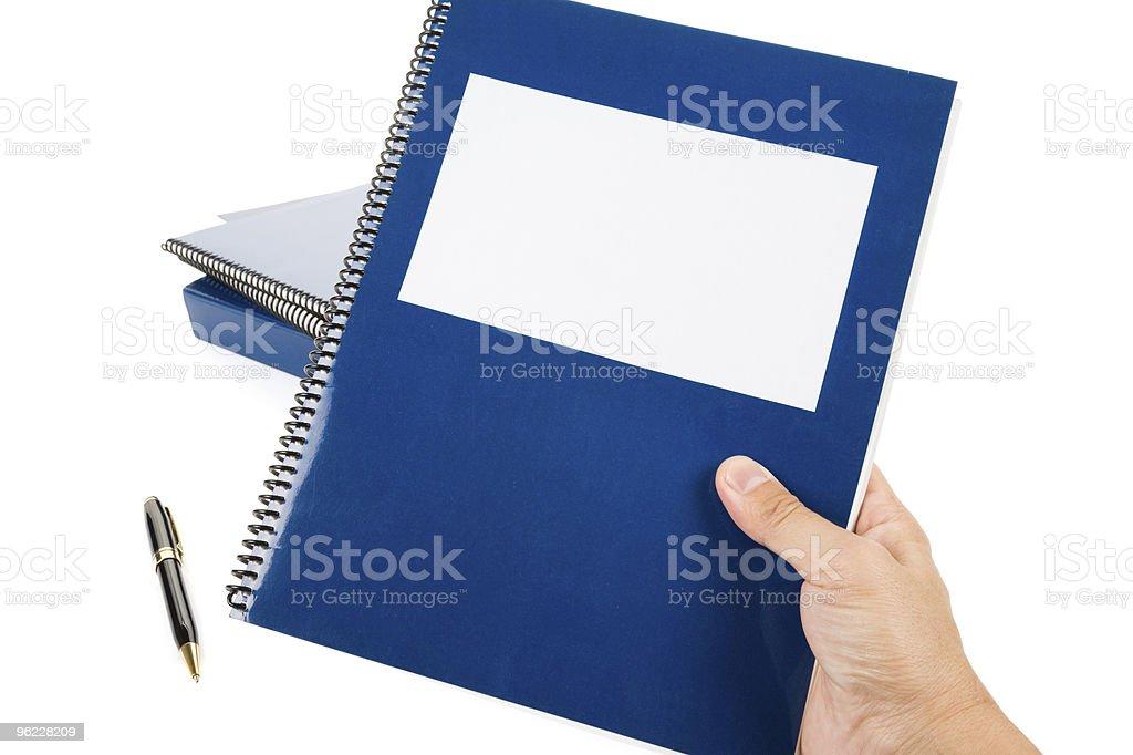 Blue school textbook stock photo