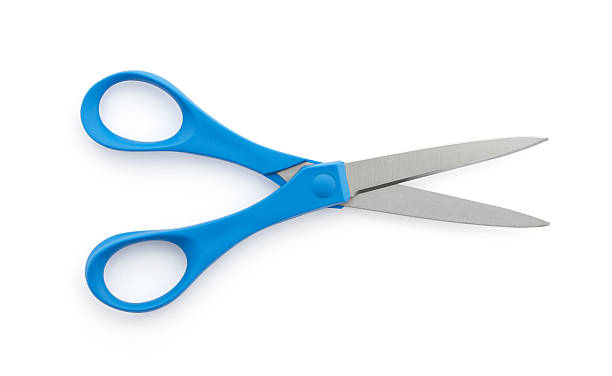 "blue scissors ""A pair of blue handle scissors, open"" scissors stock pictures, royalty-free photos & images"
