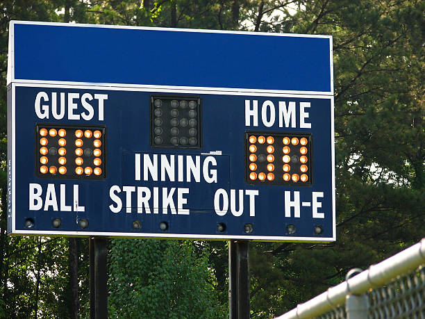 blue scoreboard - spring training stock photos and pictures