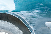 istock Blue scratched car with damaged paint in crash accident on the street or parking lot in the city 960762240