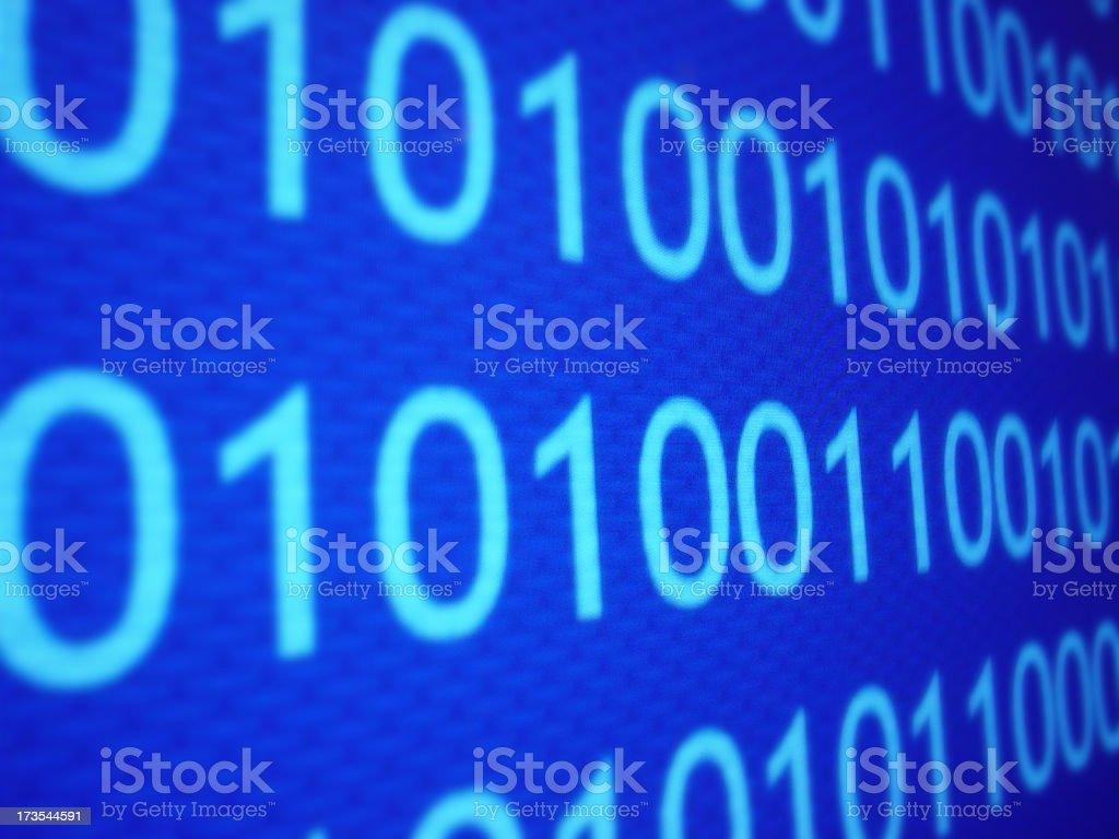 Blue screen of zeros and ones aligned as binary code royalty-free stock photo