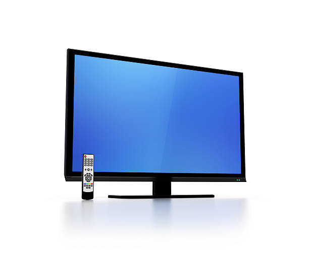 blue screen on flat hd tv with remote control - flat screen stock photos and pictures