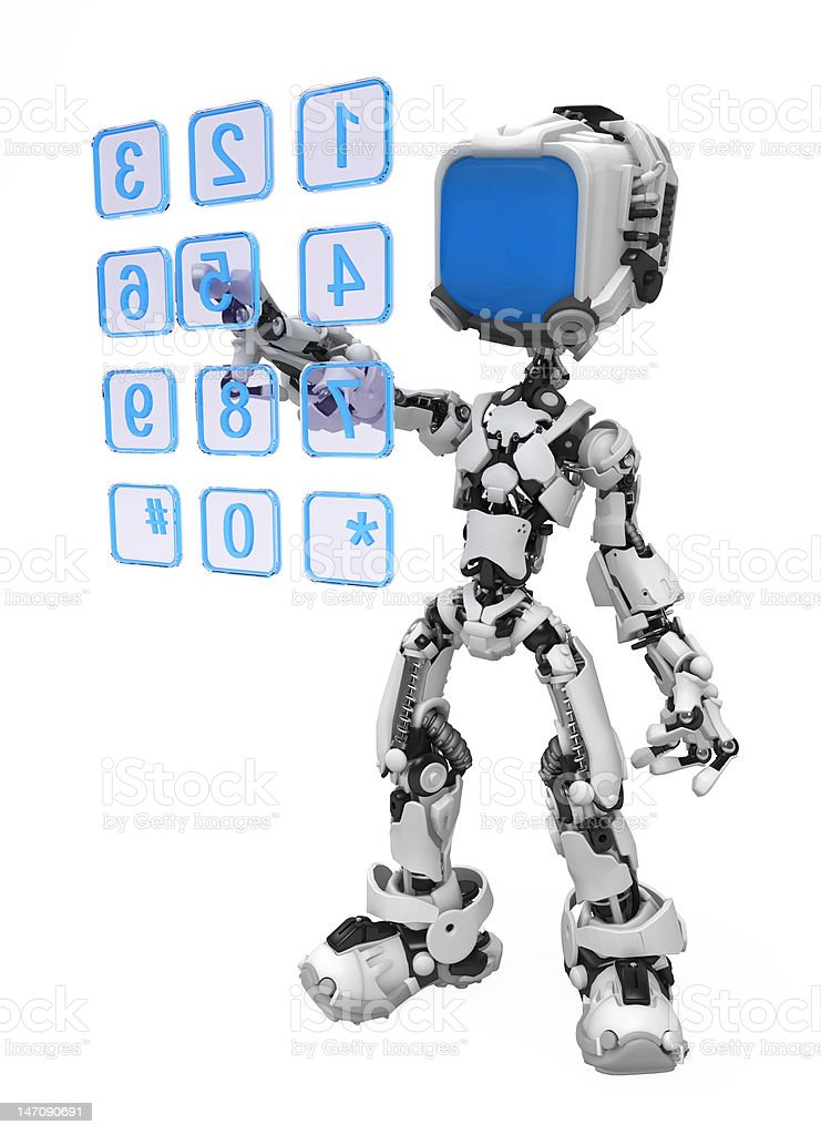 Blue Screen Robot, Dialing royalty-free stock photo