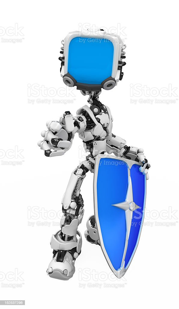 Blue Screen Robot, Shield Pose royalty-free stock photo