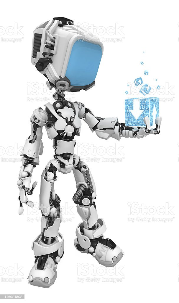 Blue Screen Robots, Data Box royalty-free stock photo