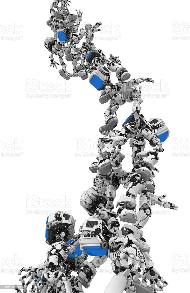 Blue Screen Robots, Group Stunt Support royalty-free stock photo