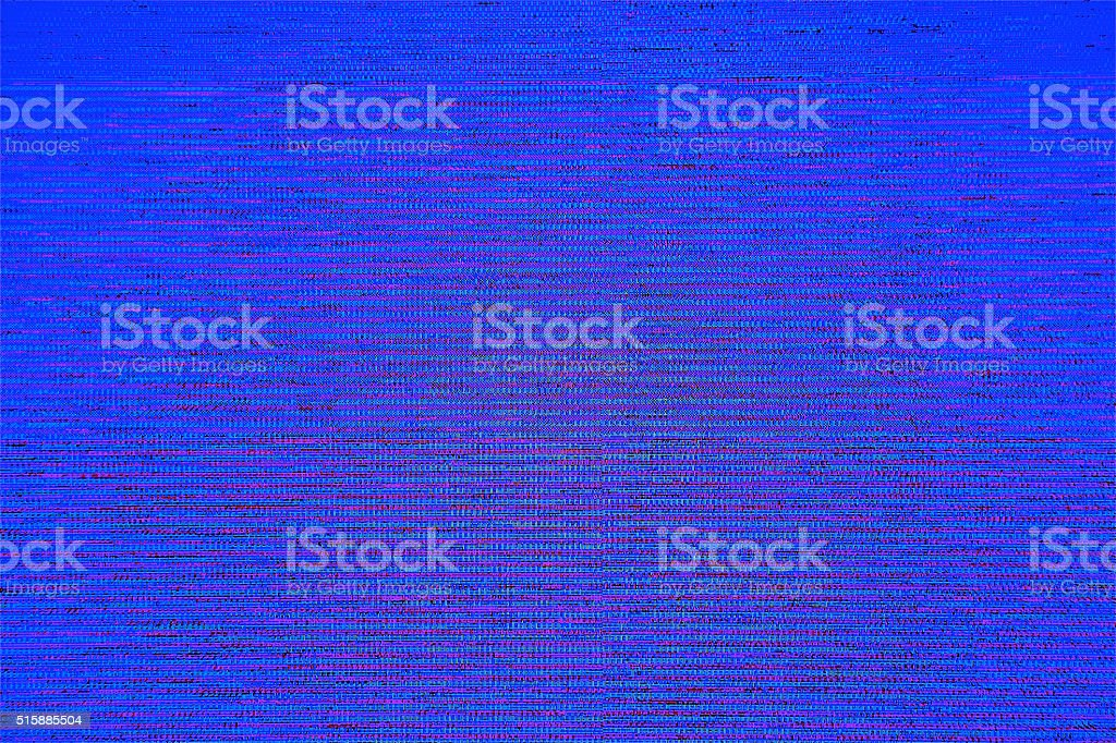 Blue screen TV LCD Television broadcast digital noise electronic failure stock photo