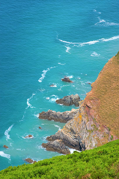 Blue Sea and Cliffs stock photo