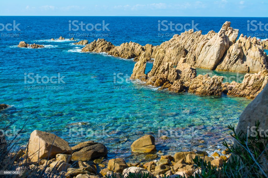 Blue sea and rocks royalty-free stock photo