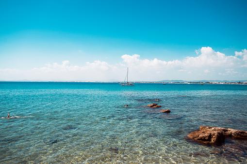 Blue sea and sky, summer.
