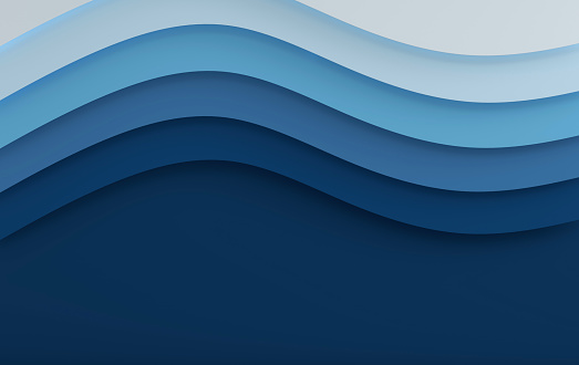 istock Blue sea elegant paper art cartoon abstract waves. Paper carve background. Modern origami design template. 3d rendering illustration. Paper layer 1134747852
