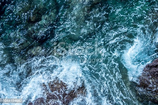 912159408 istock photo Blue sea foaming water background 1044154682