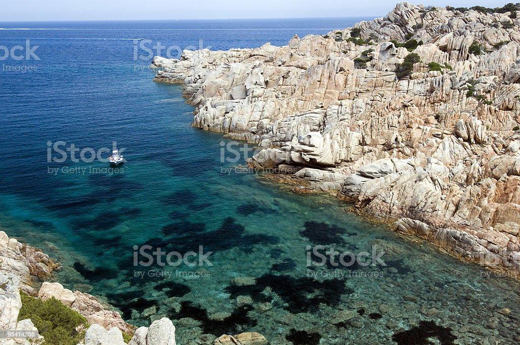Blue sea in Sardinia stock photo