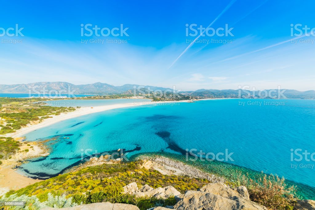 Blue sea in Villasimius coast 免版稅 stock photo