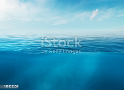 Blue sea or ocean water surface and underwater with sunny and cloudy sky.