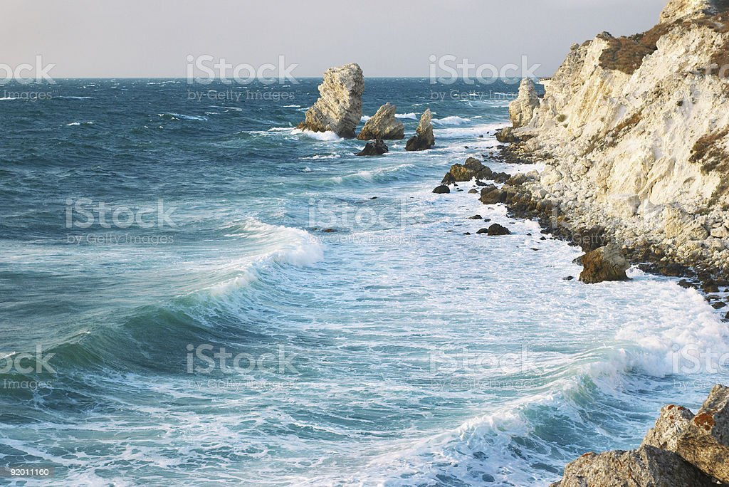 blue sea storming royalty-free stock photo