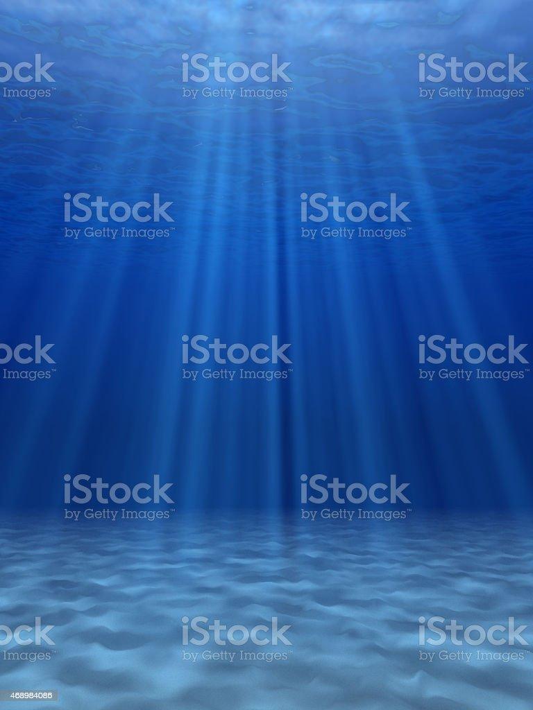 Blue sea underwater. stock photo