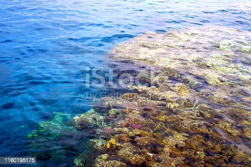 Blue water of Red sea with coral reef, Egypt, ripple surface background