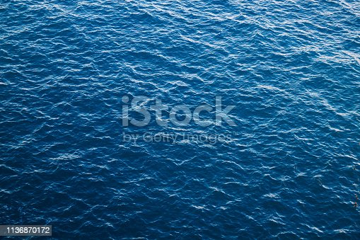 Blue sea with ribbed textured waves, top view. Mediterranean Sea in Italy, copy space