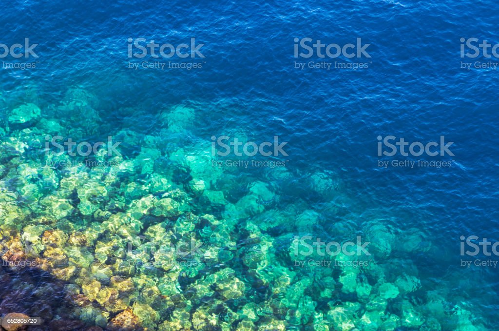 Blue sea water. View from above stock photo