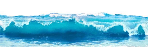 beyaz köpükle mavi deniz dalgası. - dalga stok fotoğraflar ve resimler