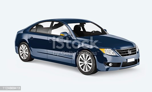 Side view of a blue sedan in 3D ***These graphics are derived from our own designs. They do not infringe on any copyright design.