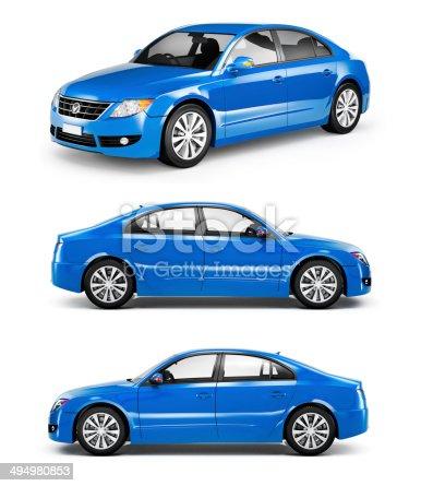 istock 3D Blue Sedans in a Row 494980853