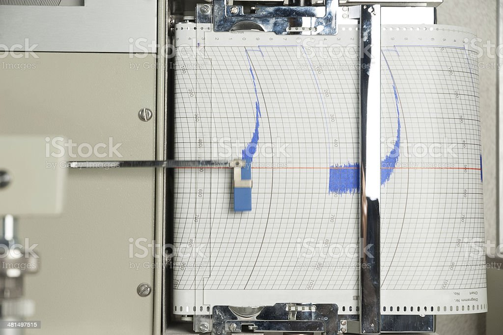 Blue  Seismograph stock photo