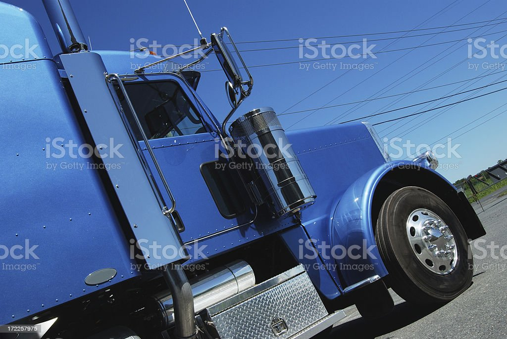 blue semi truck royalty-free stock photo