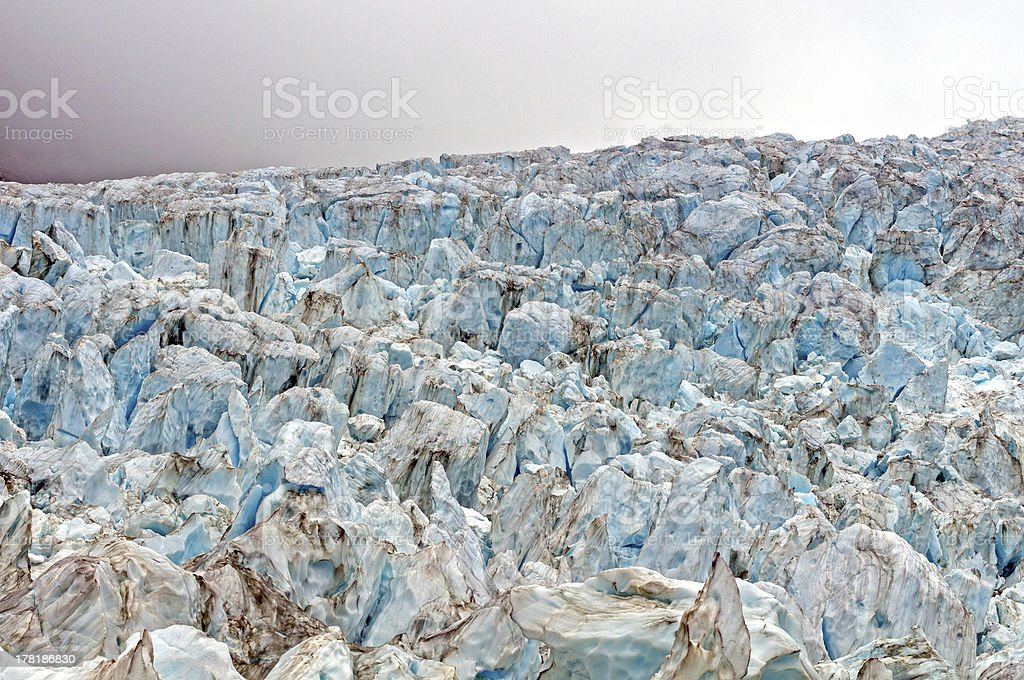 Blue Seracs at a Glacial Ice fall royalty-free stock photo