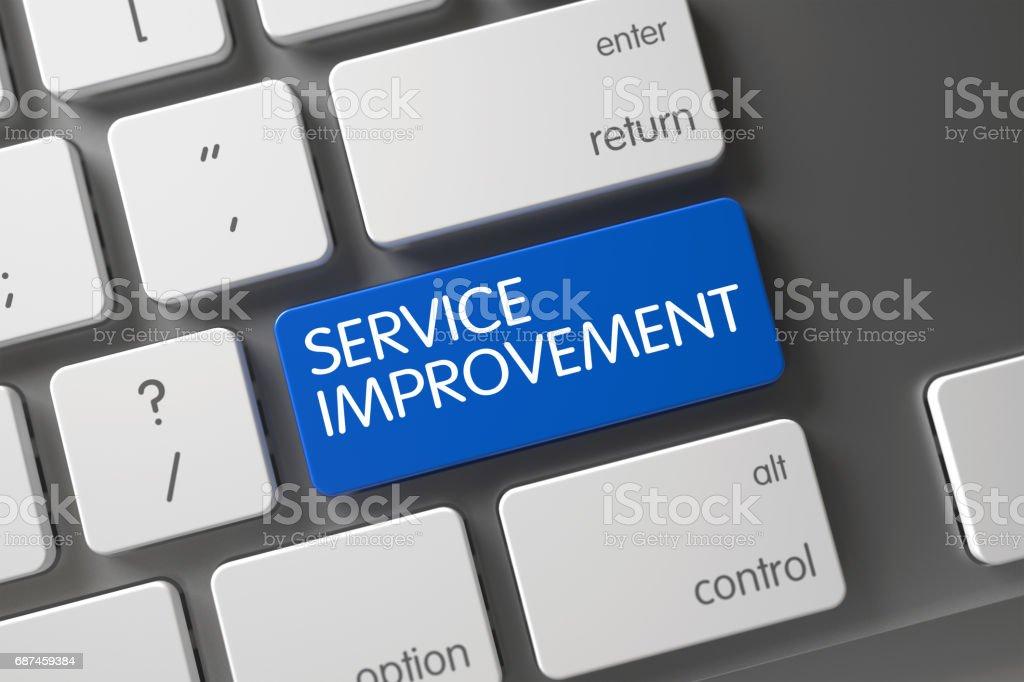 Blue Service Improvement Keypad on Keyboard. 3D stock photo