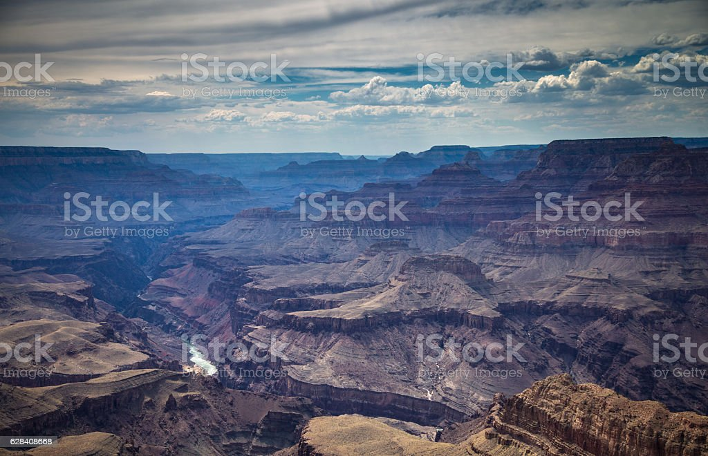 Blue Shadows and Red Rocks at the Grand Canyon stock photo