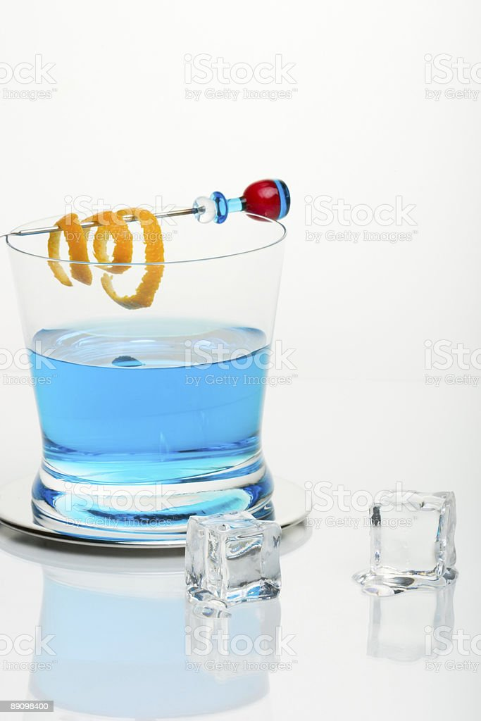 Blue shark cocktail and icecubes royalty-free stock photo