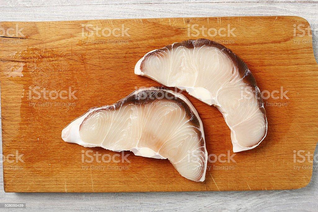 Blue Shark Cooking stock photo