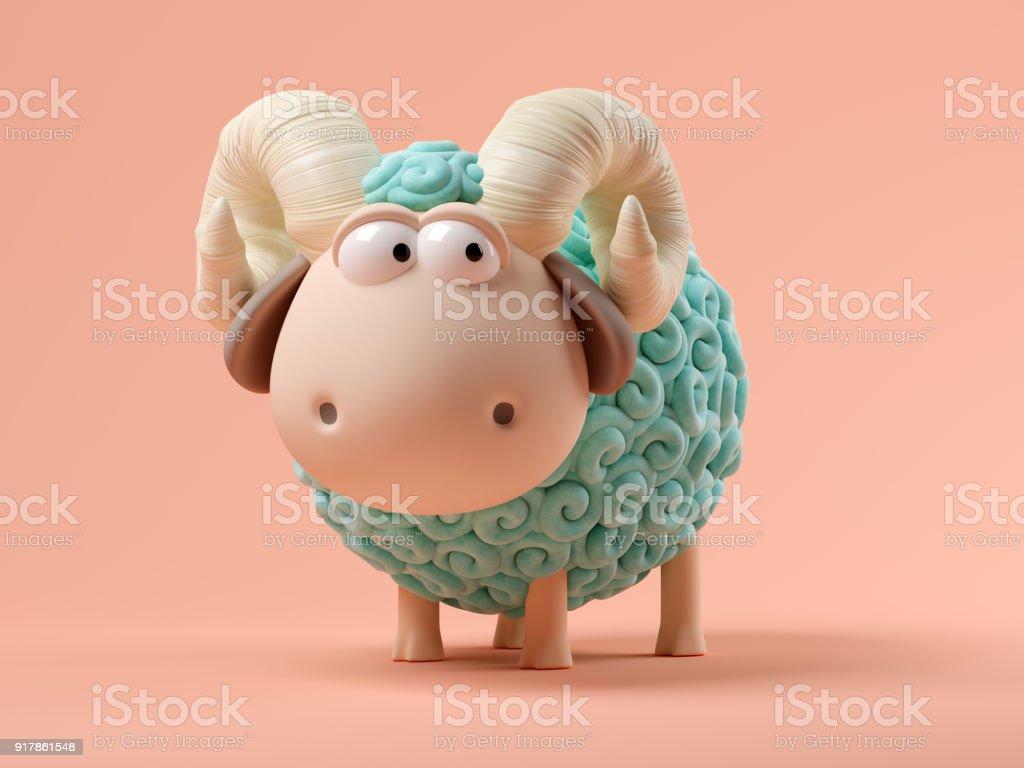 Blue sheep on pink background 3D illustration stock photo