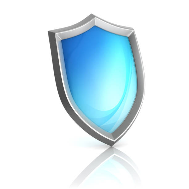 Blue shield 3d isolated illustration stock photo