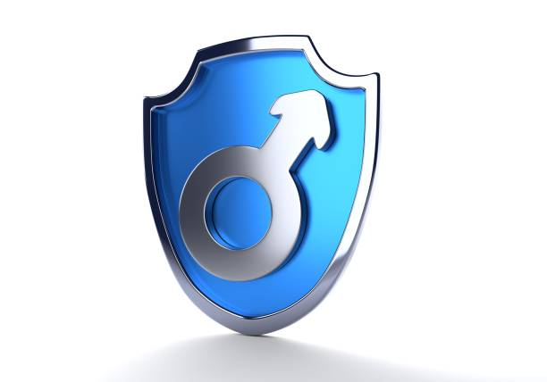 Um escudo azul e símbolo do sexo masculino - foto de acervo