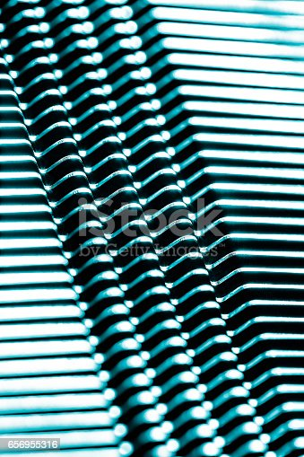 istock blue, shine, metal texture with aluminium cooling fins 656955316