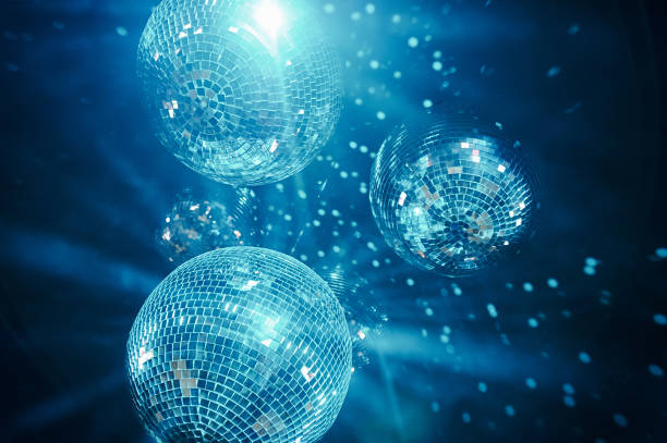 blue shining disco balls - disco ball stock pictures, royalty-free photos & images