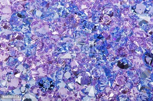istock Blue shiny gems closeup photo 848365518