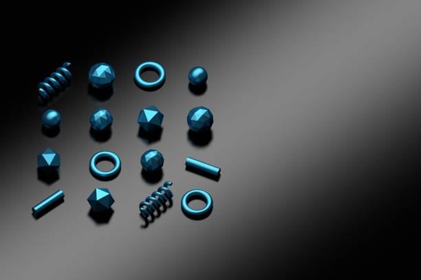 Blue shiny primitives stock photo