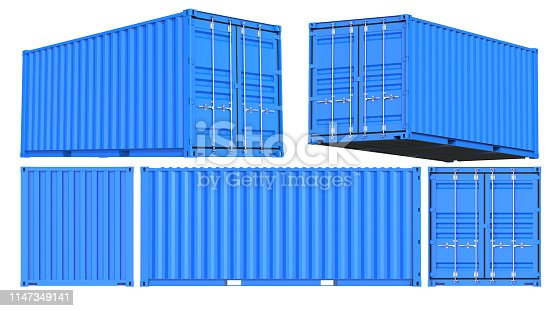 istock Blue Shipping Cargo Container Twenty feet. for Logistics and Transportation. Set of Front, back, side and perspective views. 3d Renderign Isolated on White Background 1147349141
