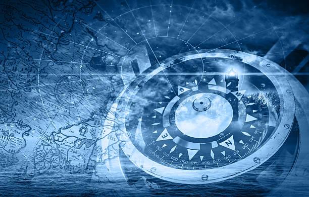 blue schiffe navigation illustration mit kompass, leuchtturm und - karte navigationsinstrument stock-fotos und bilder