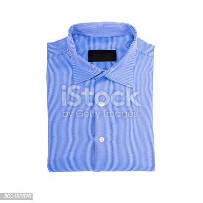 istock Blue shirt isolated on white background 500462876