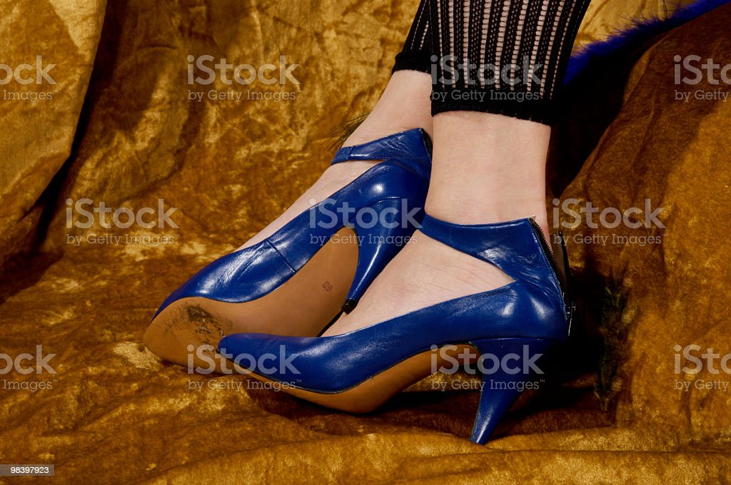 Blue shoes with zipper back. royalty-free stock photo