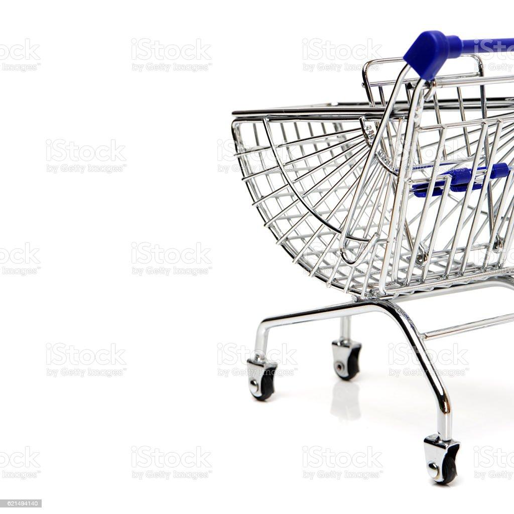 Blue shopping cart model Lizenzfreies stock-foto