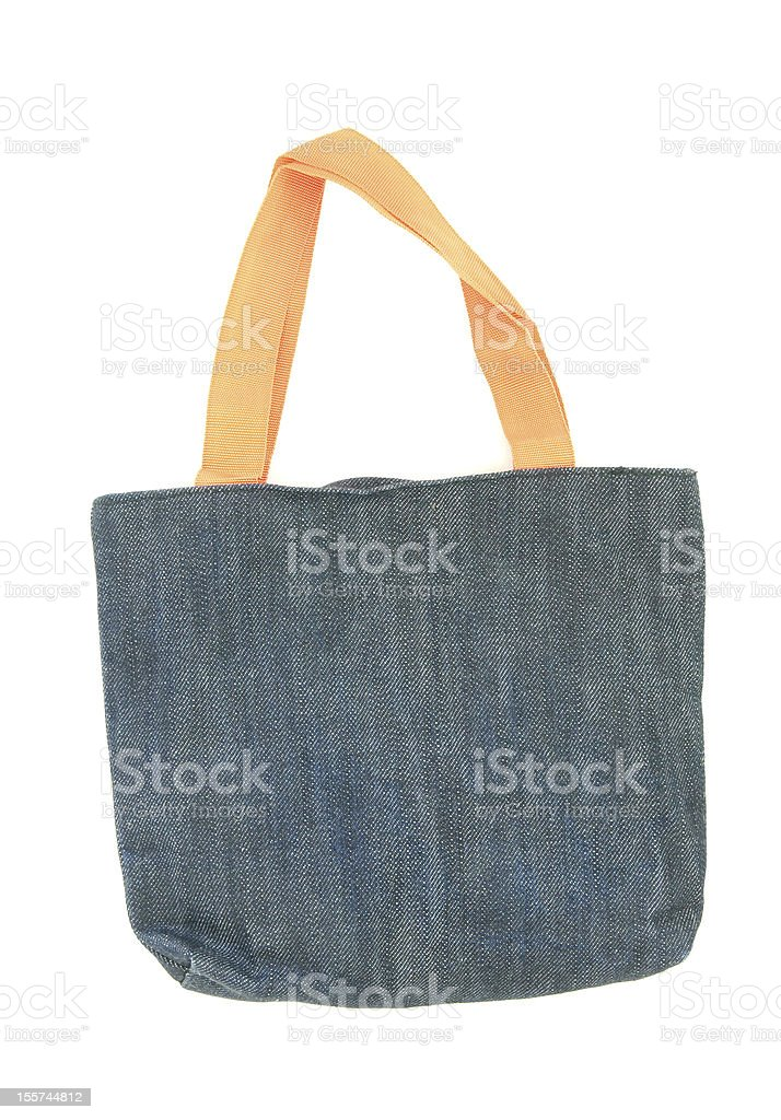 blue shopping fabric bag isolated on white royalty-free stock photo