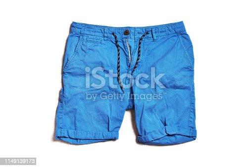 Blue short pants for men isolated on white background.